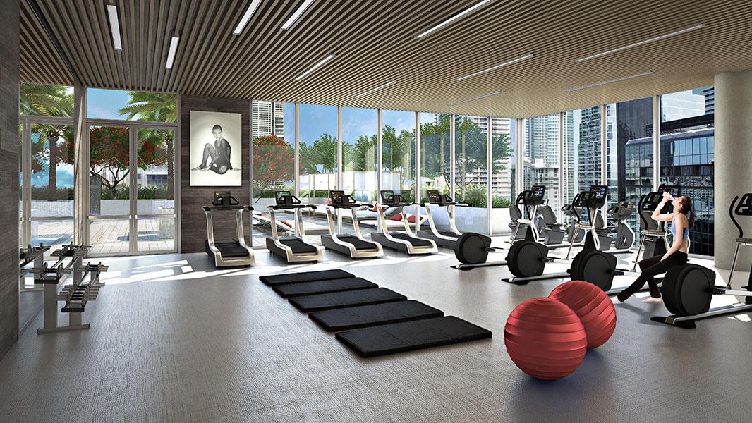 salle de fitness dans immeuble de prestige marc foujols floride immobilier de prestige. Black Bedroom Furniture Sets. Home Design Ideas